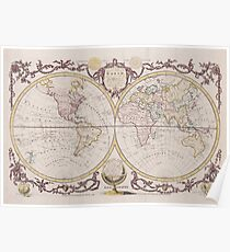 Vintage Map of The World (1782) Poster