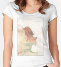 Vintage Map of San Francisco CA (1853) Women's Fitted Scoop T-Shirt