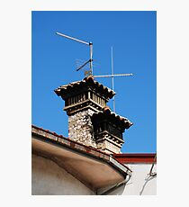 Old Stone Chimney Against Blue Sky Photographic Print