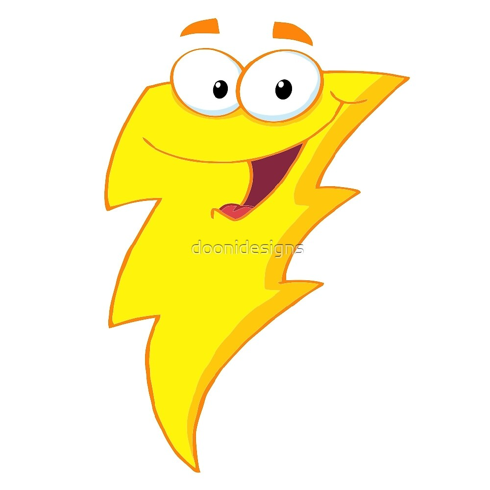 Silly Cute Cartoon Lightning Bolt Character\