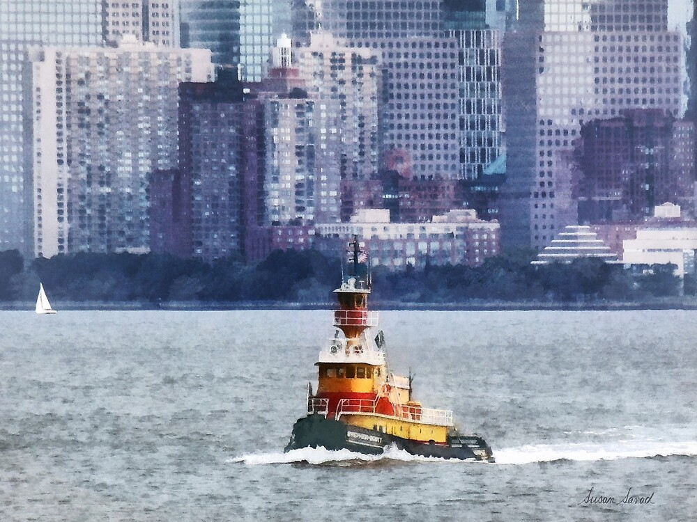 Tugboat Near Manhattan Skyline by Susan Savad