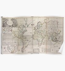 Vintage Map of The World (1719) Poster