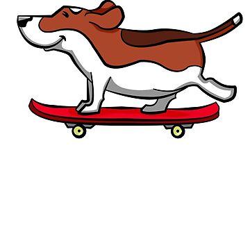 Skateboarding Beagle by davidicon