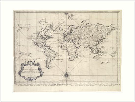 Vintage Map Of The World 1750 Art Prints By Bravuramedia Redbubble