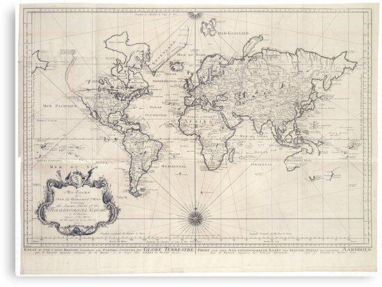 Vintage Map Of The World 1750 Metal Prints By Bravuramedia