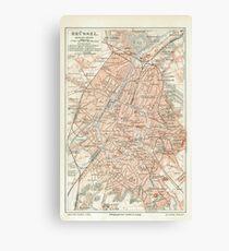 Vintage Map of Brussels Belgium (1907) Canvas Print