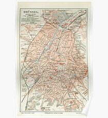 Vintage Map of Brussels Belgium (1907) Poster