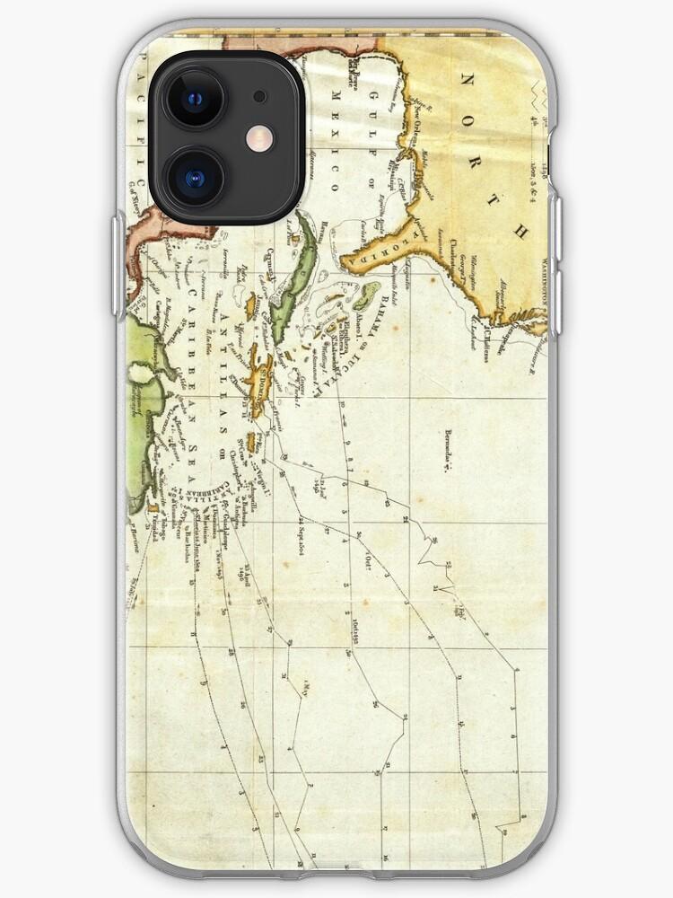 \'Vintage Christopher Columbus Voyage Map (1828)\' iPhone Case by BravuraMedia