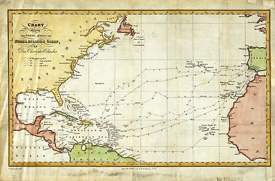 Vintage Christopher Columbus Voyage Map (1828) by BravuraMedia
