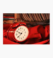 Red Alarm Clock 3 - Macro Photography Photographic Print
