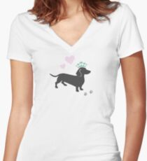 The Royal Dachshund Women's Fitted V-Neck T-Shirt