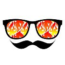 Trendy Flames Shades Sunglasses and Mustache by doonidesigns