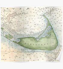 Vintage Map of Nantucket (1857) Poster