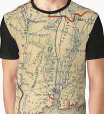 Vintage Map of New Haven County CT (1846) Graphic T-Shirt