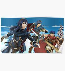Super Smash Bros. Fire Emblem - Lucina, Marth, Ike Poster