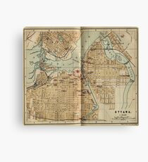 Vintage Map of Ottawa Canada (1894) Canvas Print