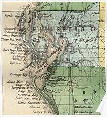 Vintage Map of Tampa Florida (1870) Poster