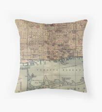 Vintage Map of Toronto (1894) Throw Pillow