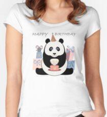PANDA HAPPY BIRTHDAY Women's Fitted Scoop T-Shirt