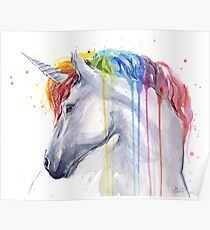Rainbow Unicorn Watercolor Poster