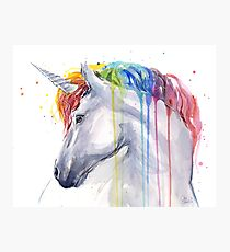 Rainbow Unicorn Watercolor Photographic Print