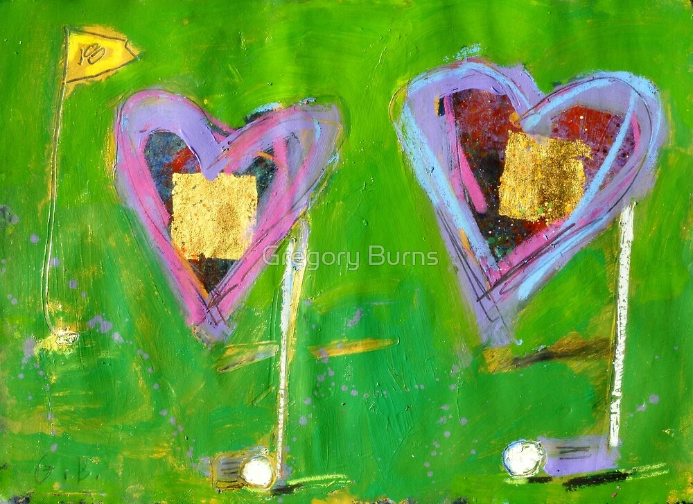 2 Hearts Golfing as 1 by Gregory Burns