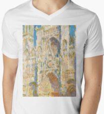 1894-Claude Monet-Rouen Cathedral, West Façade, Sunlight-65 x 100 Mens V-Neck T-Shirt