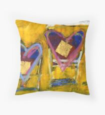 2 Hearts Beached as 1 Throw Pillow