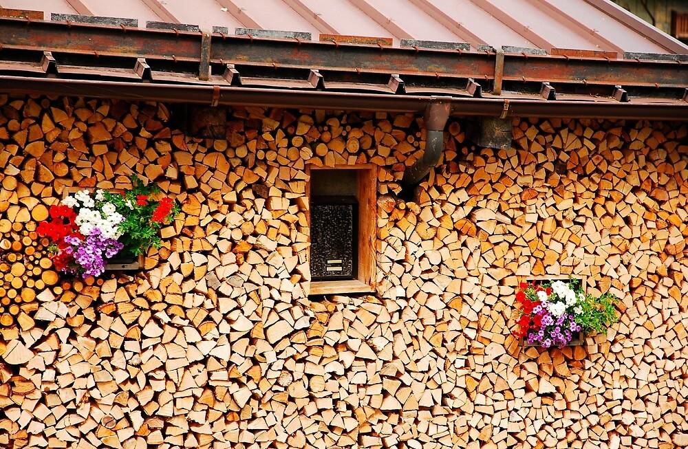 Neat Wood Stack with Flowers by jojobob