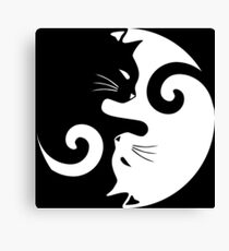 Ying Yang Cats - Black and white Canvas Print