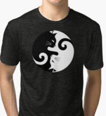 Ying Yang Cats - Black & White Tri-blend T-Shirt