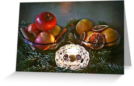 Christmas:a candle, fir branches spices and fruits by Luisa Fumi