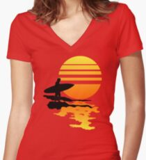Surfing Sunrise Women's Fitted V-Neck T-Shirt
