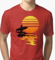 Surfing Sunrise Tri-blend T-Shirt