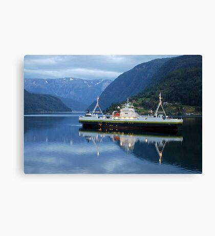 Fjord ferry by night Canvas Print