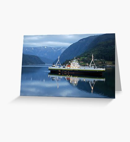 Fjord ferry by night Greeting Card