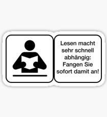 Lesen Warnung Deutsch Abhängig Sticker
