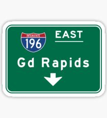 Grand Rapids, Road Sign, Michigan Sticker