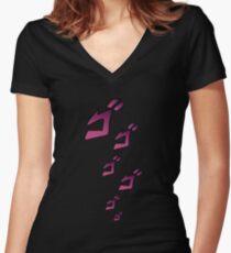Jojo MENACING ゴ ゴ ゴ (Jojos bizarres Abenteuer) Tailliertes T-Shirt mit V-Ausschnitt