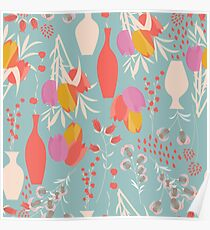 Spring flower pattern, tulips and lilies, 004 Poster