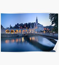 Sanctuary of Our Lady of Lourdes at Blue Hour Poster