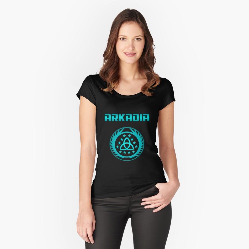 Arkadia Logo Tailliertes Rundhals-Shirt