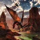 Fantasy dragon in the mountains by Gatterwe