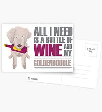Wine and Goldendoodles Postcards