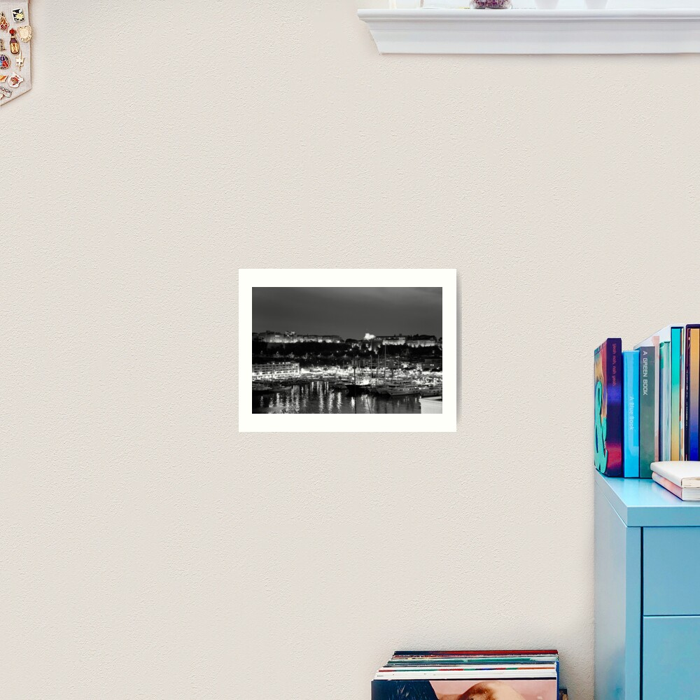 Monaco palace and bay Art Print
