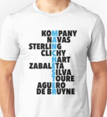 Manchester City spelt using player names T-Shirt