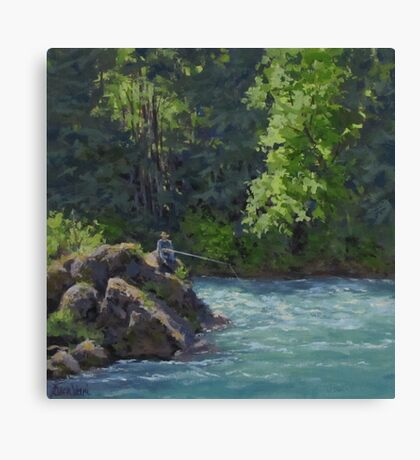 Favorite Spot - Original Fishing on the River Painting Canvas Print