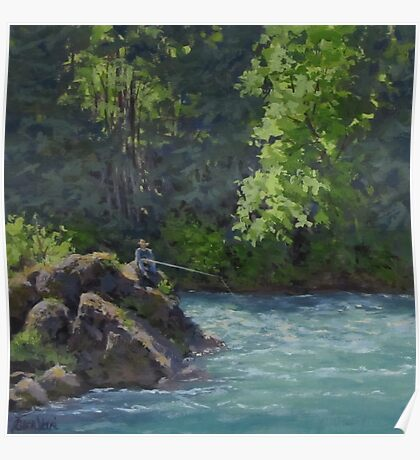Favorite Spot - Original Fishing on the River Painting Poster