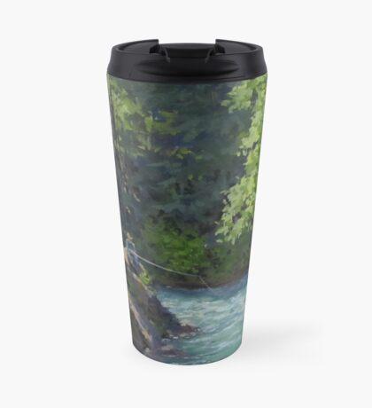 Favorite Spot - Original Fishing on the River Painting Travel Mug