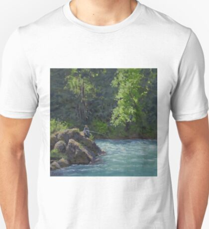 Favorite Spot - Original Fishing on the River Painting T-Shirt